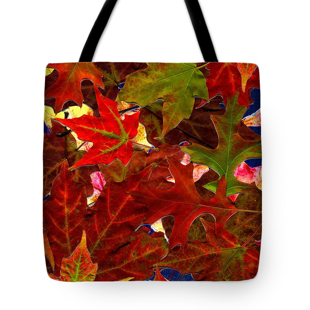 Collage Tote Bag featuring the photograph Autumn Leaves by Nancy Mueller