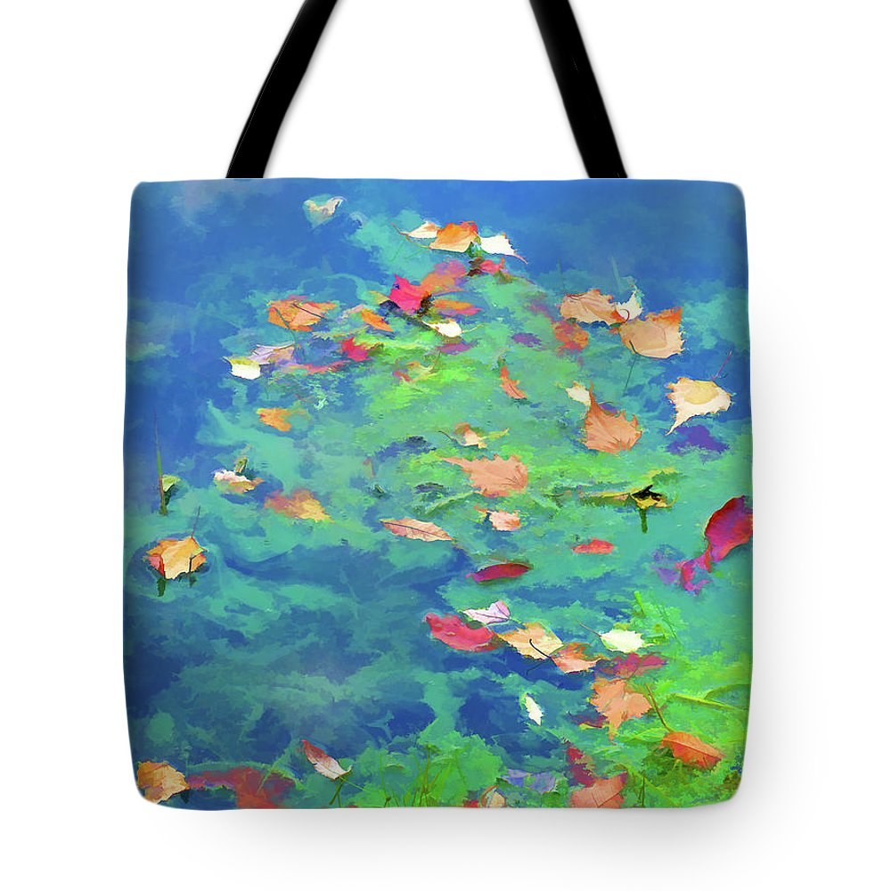 Autumn Leaves On Water Tote Bag featuring the painting Down Down Down by Jeelan Clark