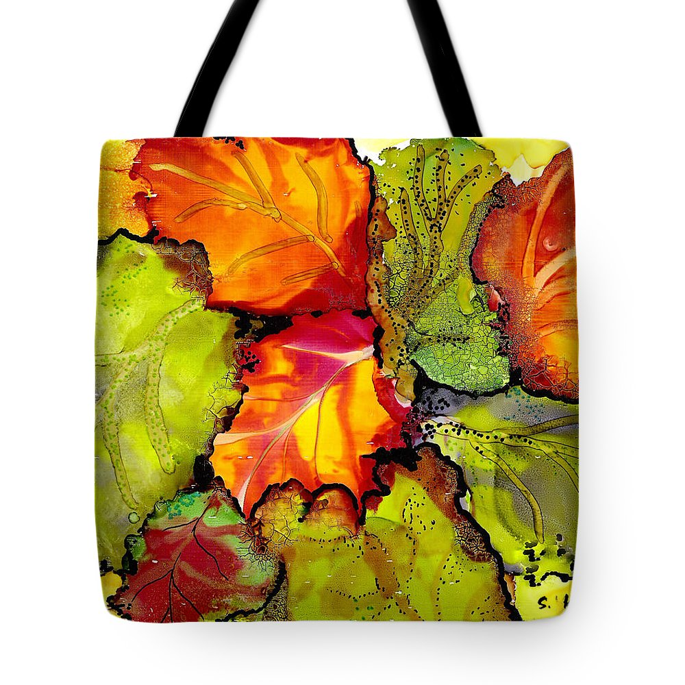 Leaves Tote Bag featuring the painting Autumn Leaves by Susan Kubes