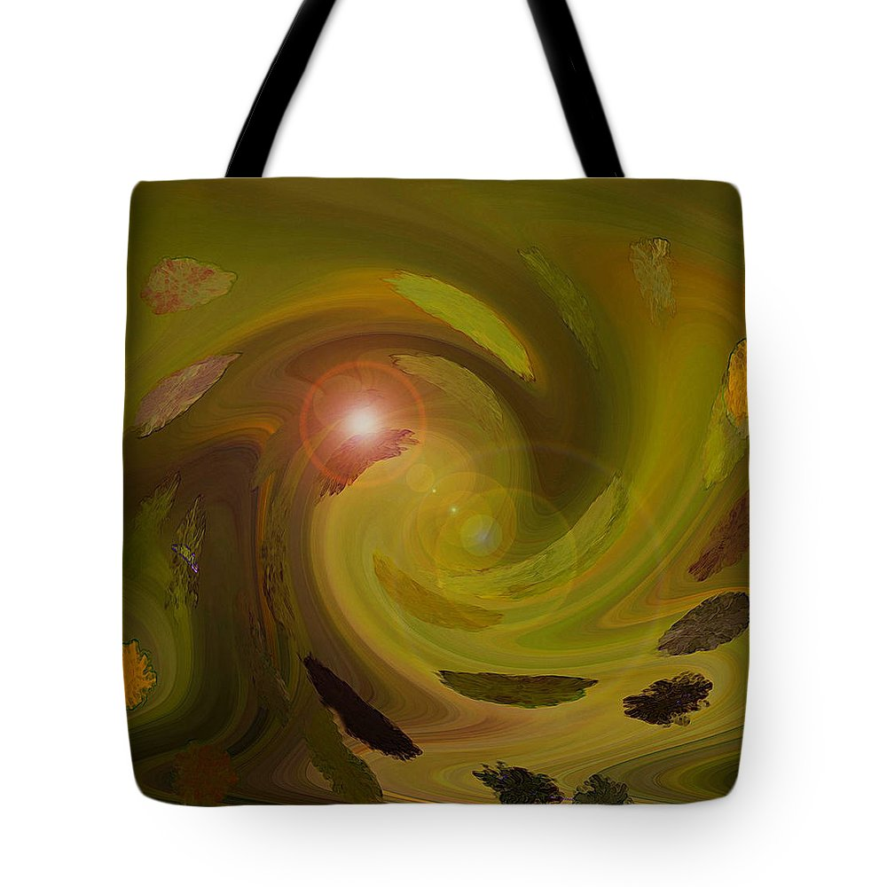 Digital Painting Abstract Tote Bag featuring the digital art Autumn Light by Linda Sannuti