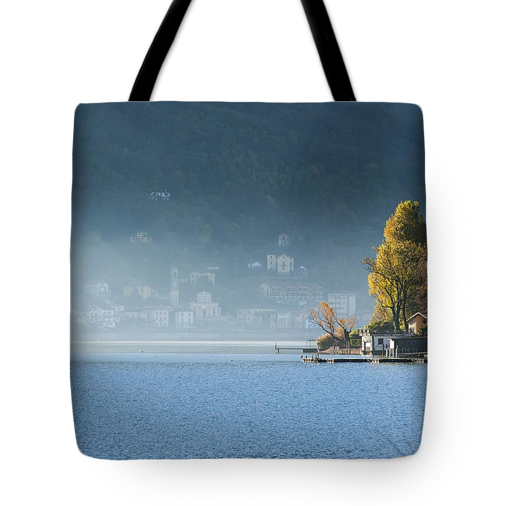 Landscape Tote Bag featuring the photograph Autumn Lights by Massimo Battaglia
