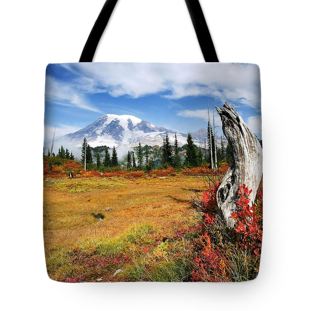 Rainier Tote Bag featuring the photograph Autumn Majesty by Mike Dawson