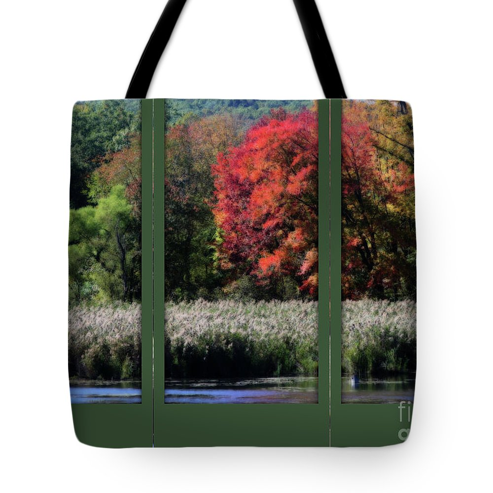 Autumn Tote Bag featuring the photograph Autumn Marsh Through A Window by Smilin Eyes Treasures