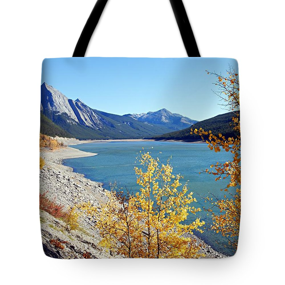 Medicine Lake Tote Bag featuring the photograph Autumn Medicine by Larry Ricker