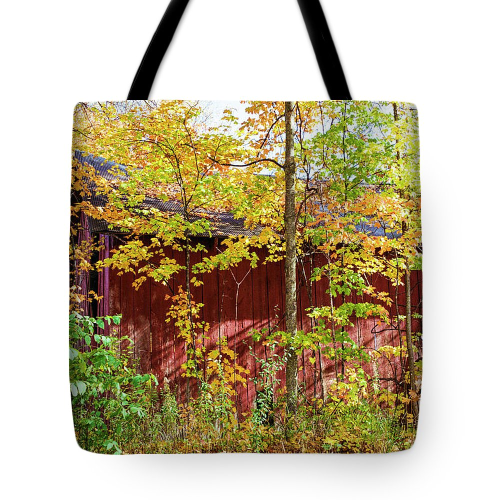 35mm Film Tote Bag featuring the photograph Autumn Michigan Barn by John McGraw