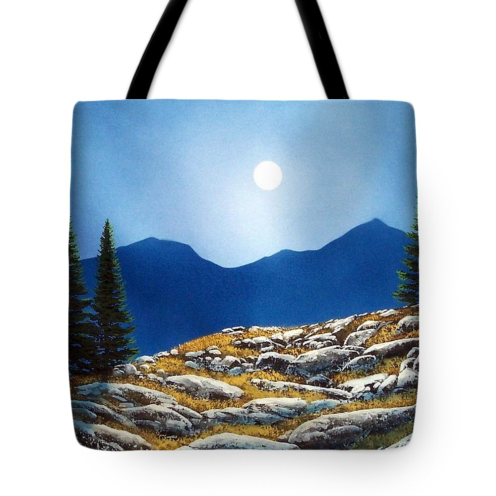 Landscape Tote Bag featuring the painting Autumn Moon by Frank Wilson