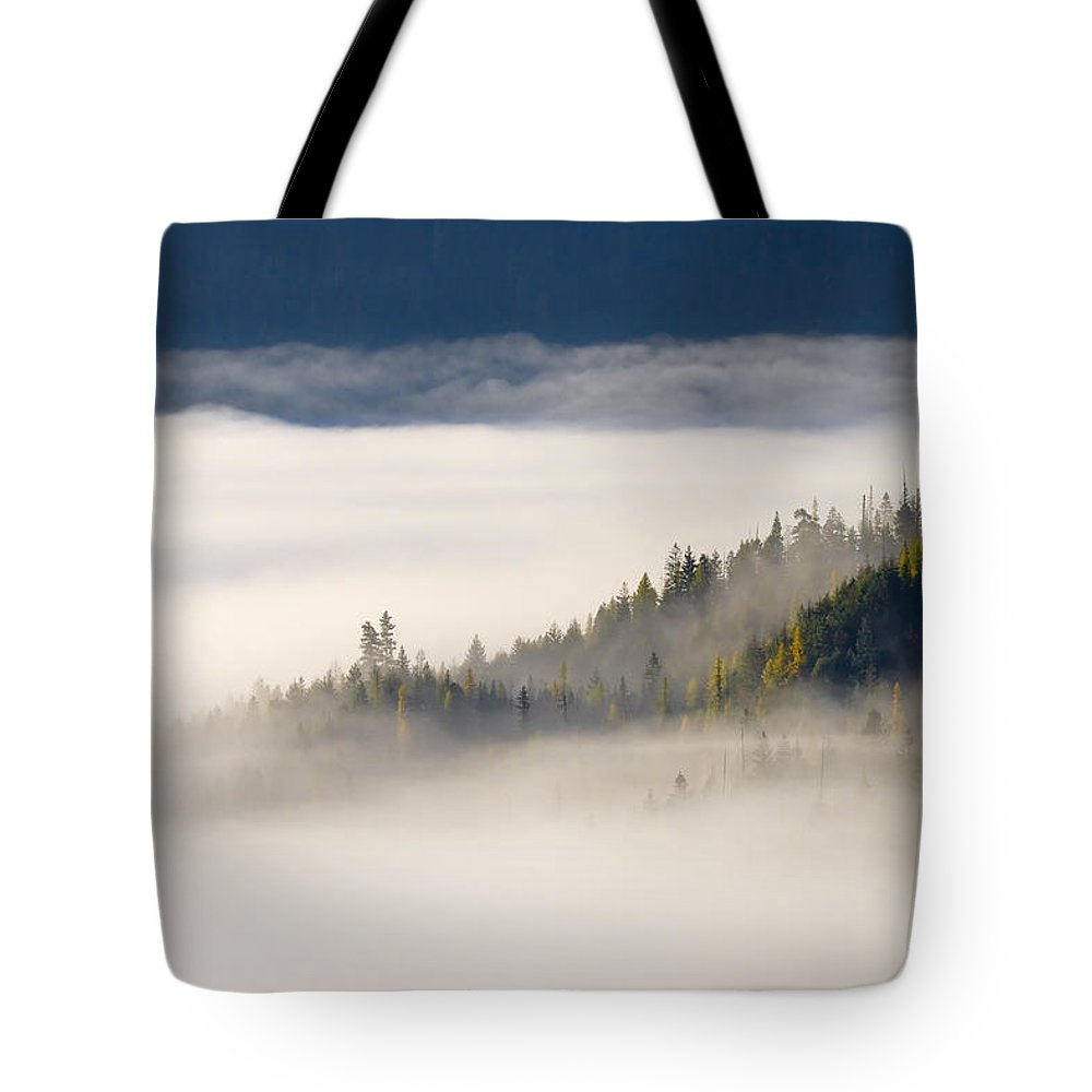 Fog Tote Bag featuring the photograph Autumn Morn by Mike Dawson