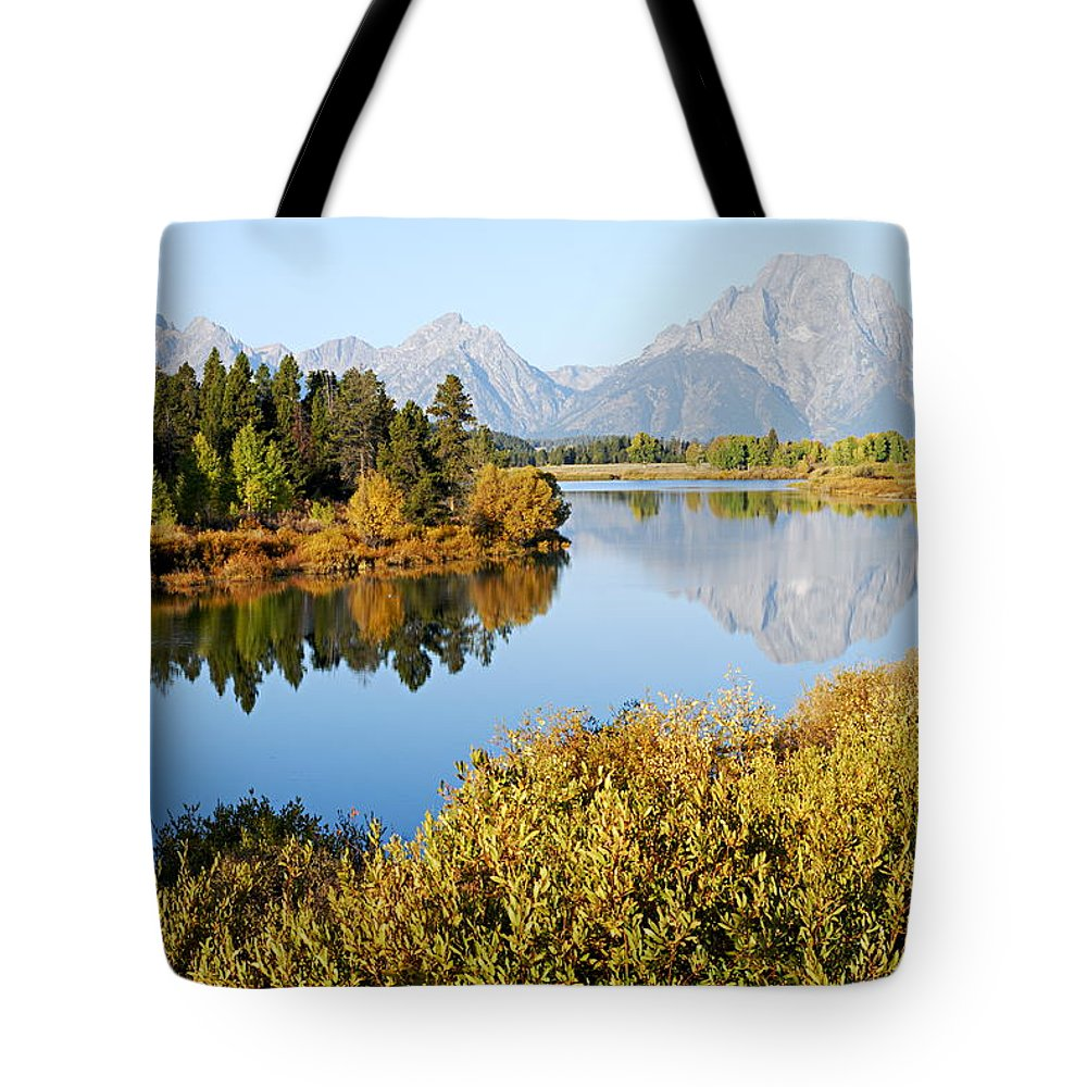 Oxbow Bend Tote Bag featuring the photograph Autumn Morning At Oxbow Bend by Larry Ricker
