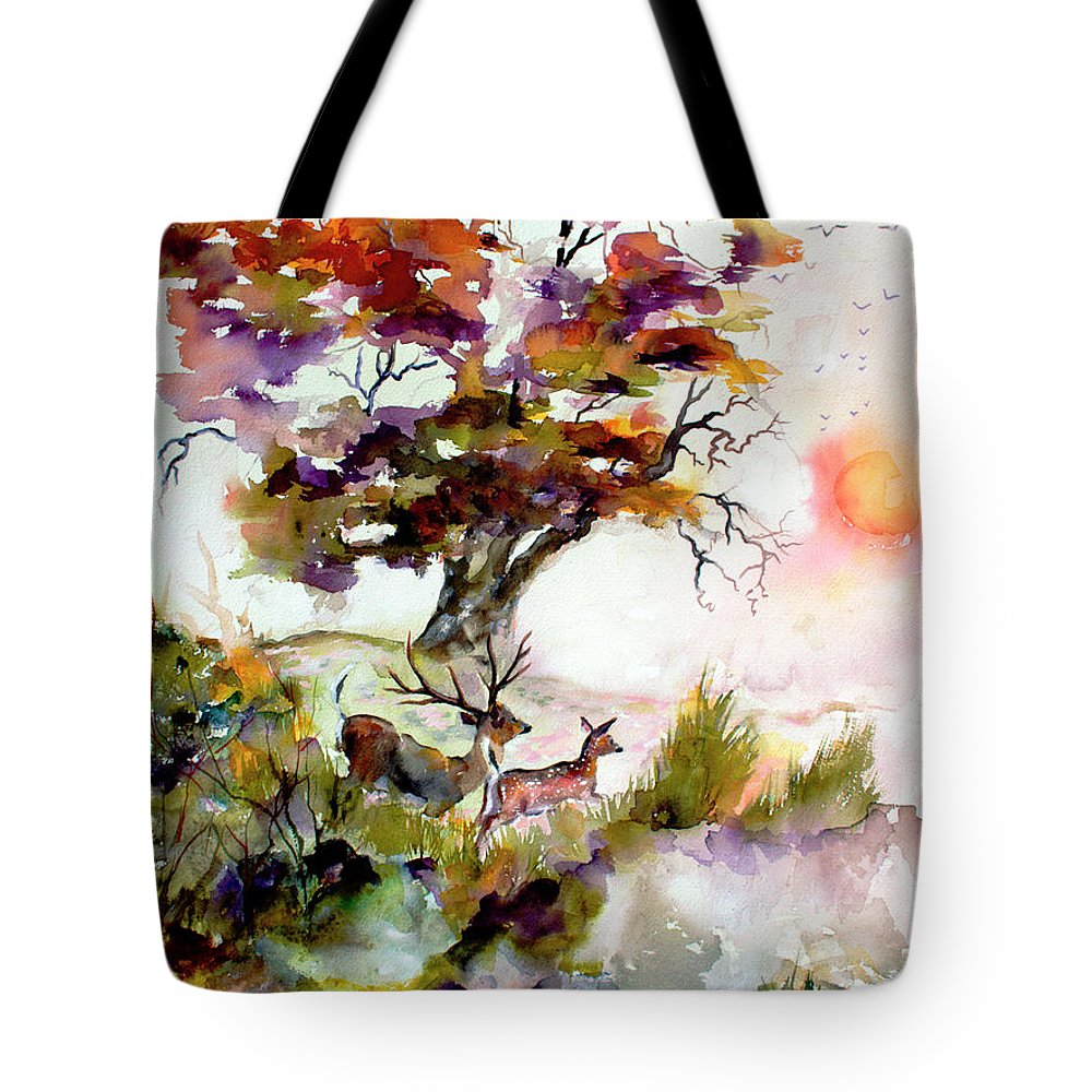 Oaks Tree Tote Bag featuring the painting Autumn Oak and Deer Sunset by Ginette Callaway
