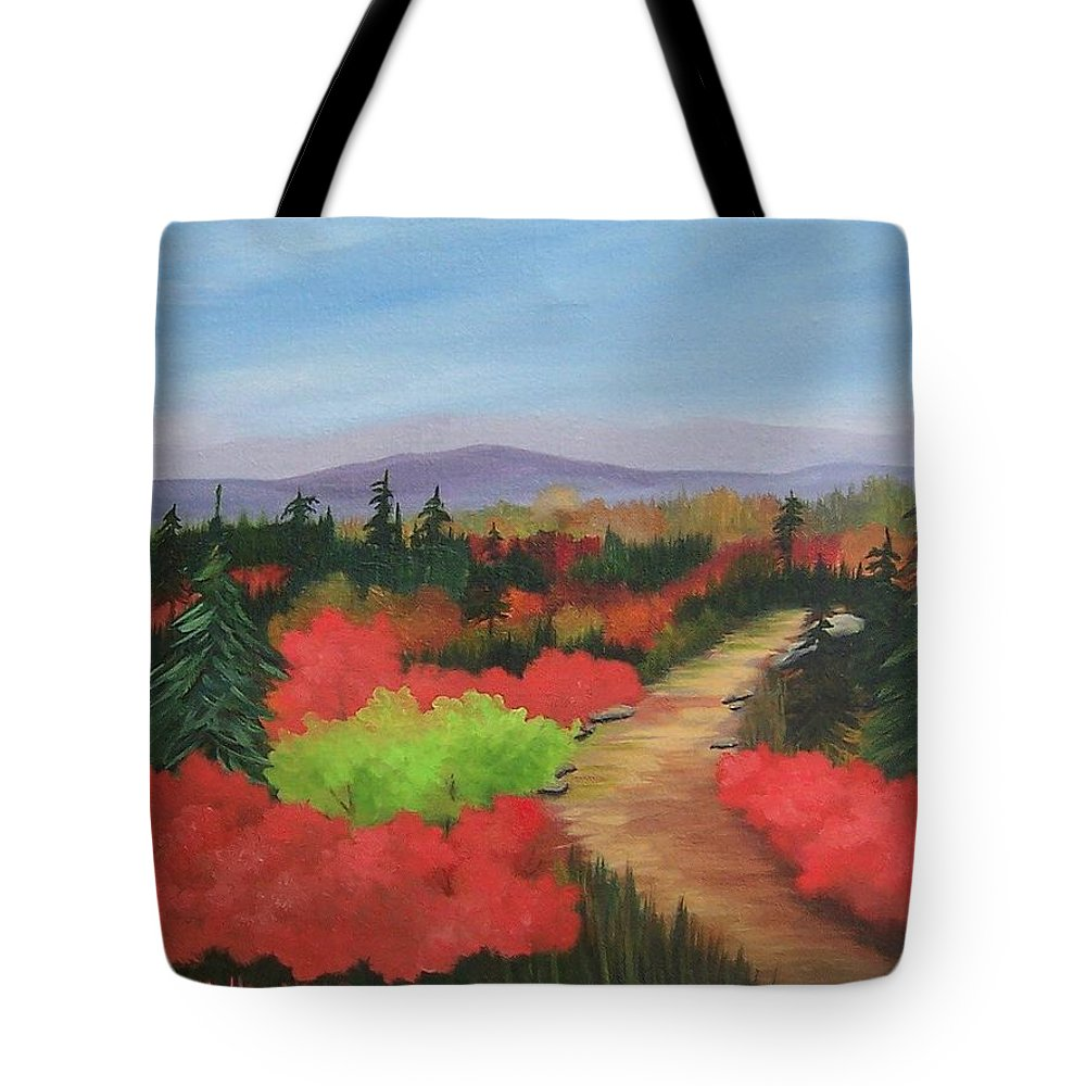 Landscape Tote Bag featuring the painting Autumn On Dolly Sods by Ruth Housley
