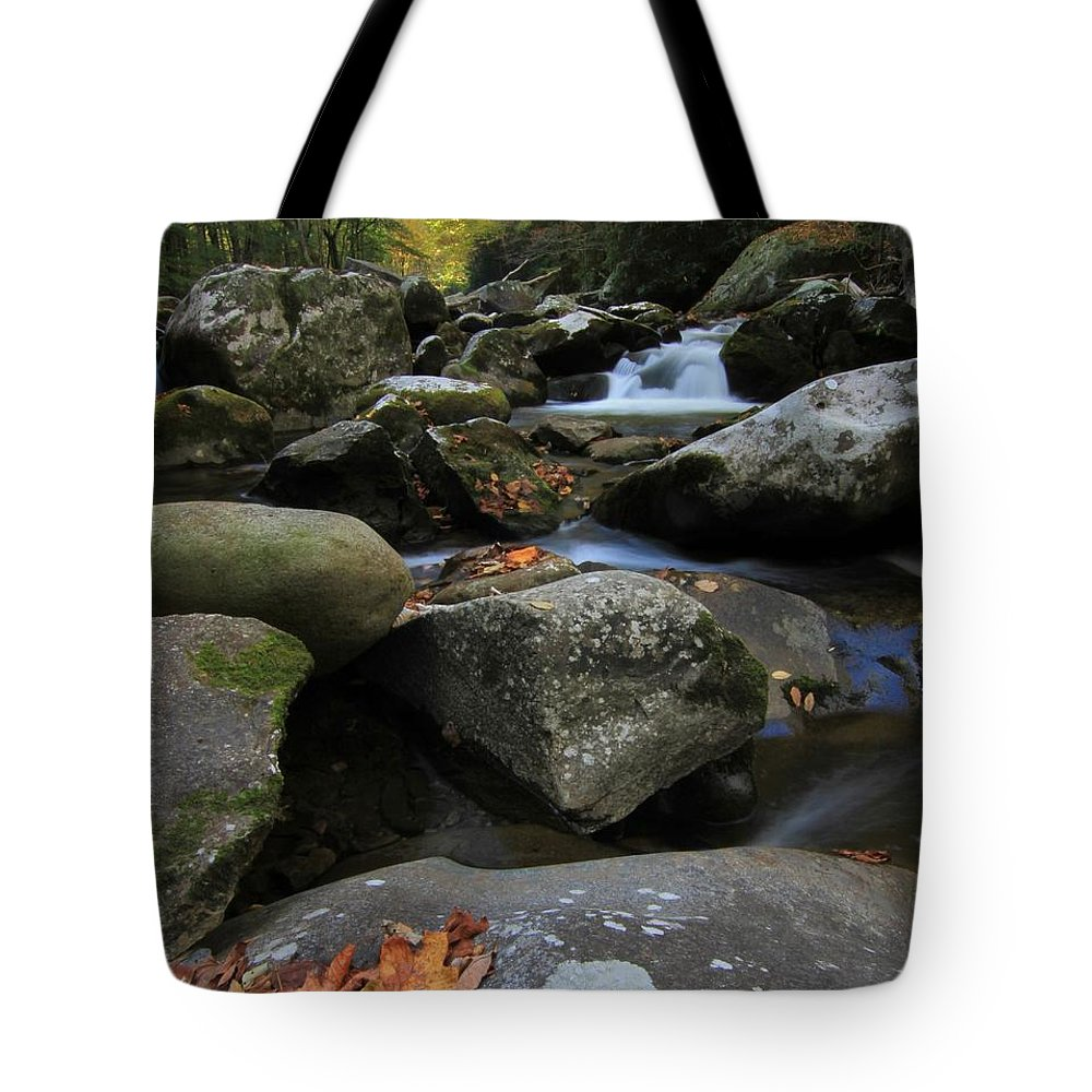 Autumn On The Little River In The Smoky Mountains Tote Bag featuring the photograph Autumn On Little River In The Smoky Mountains by Dan Sproul