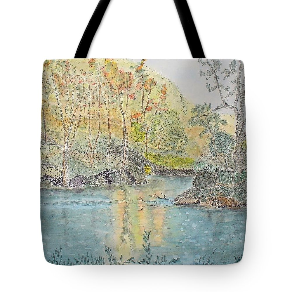 Watercolour Tote Bag featuring the painting Autumn On The Ausable River by Peggy King