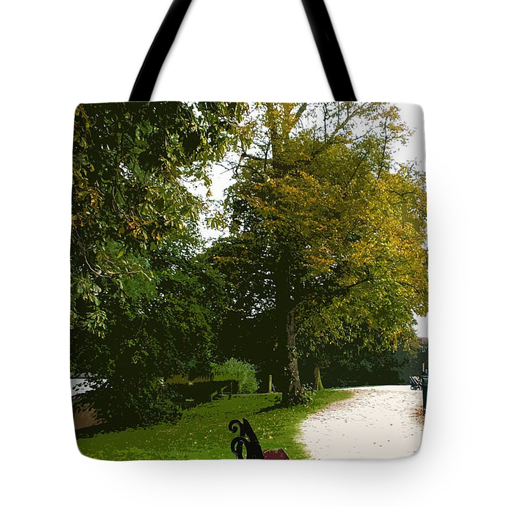 Nature Tote Bag featuring the digital art Autumn Park by Francesca Mackenney