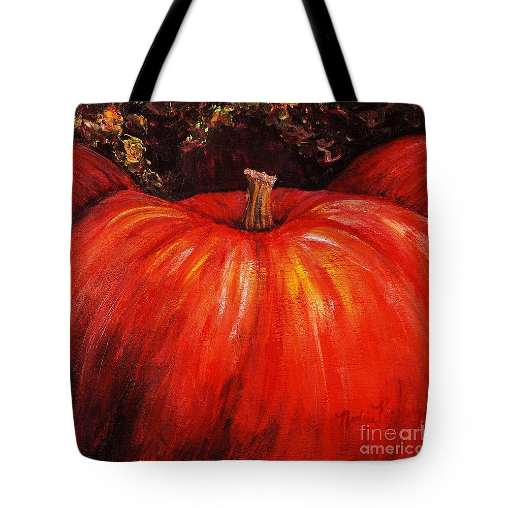 Orange Tote Bag featuring the painting Autumn Pumpkins by Nadine Rippelmeyer
