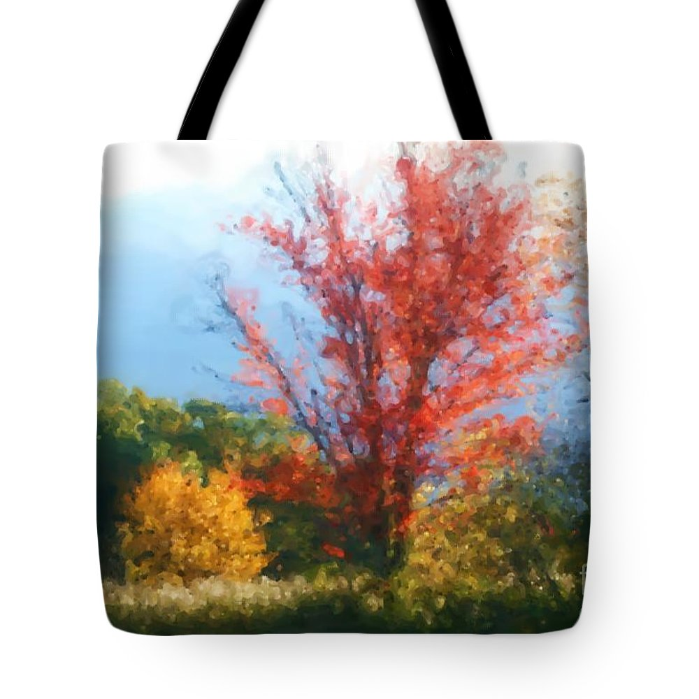 Autumn Tote Bag featuring the mixed media Autumn Red And Yellow by Smilin Eyes Treasures