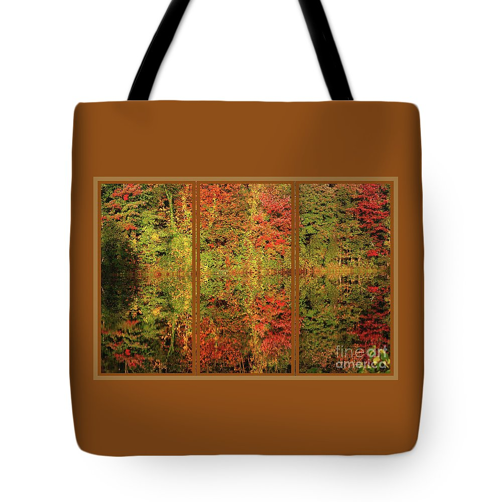 Autumn Tote Bag featuring the photograph Autumn Reflections In A Window by Smilin Eyes Treasures