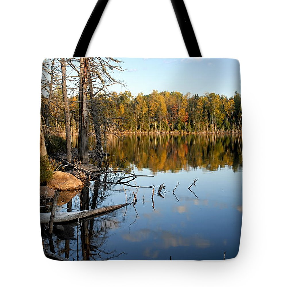 Boundary Waters Canoe Area Wilderness Tote Bag featuring the photograph Autumn Reflections On Little Bass Lake by Larry Ricker