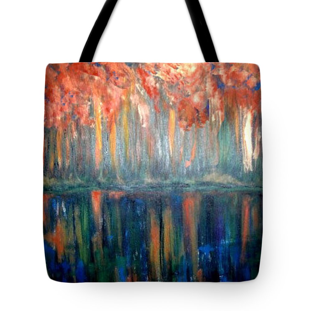 Original Art Tote Bag featuring the painting Autumn Reflections by Rae Chichilnitsky