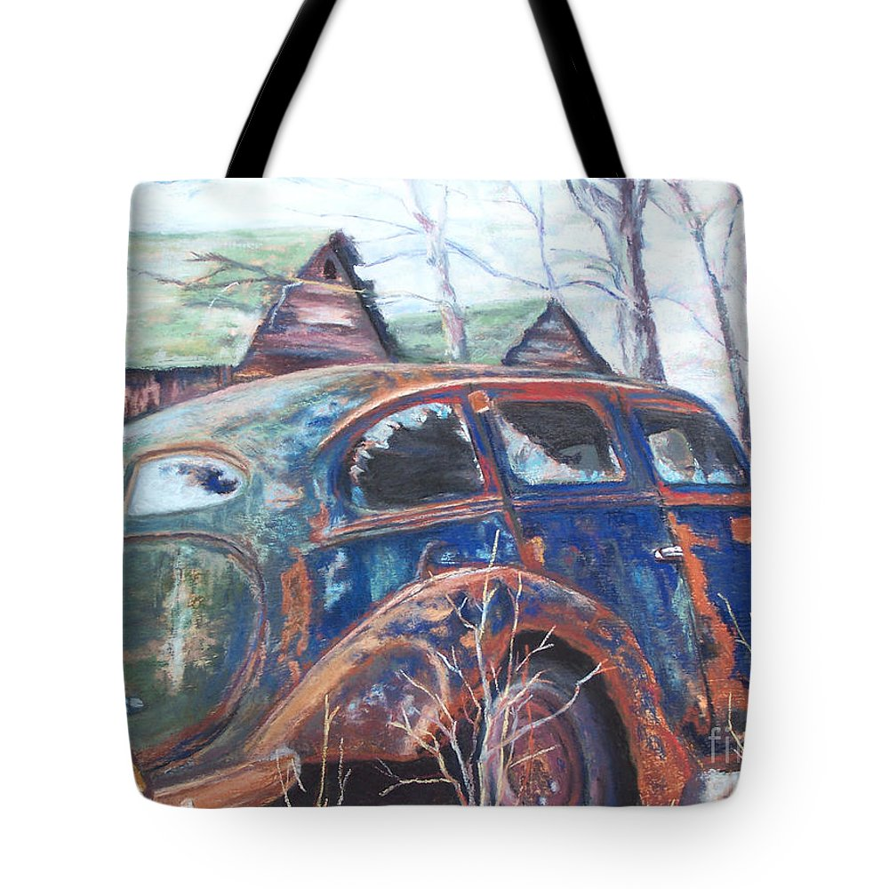 Vintage Auto Tote Bag featuring the pastel Autumn Retreat - Old Friend Vi by Alicia Drakiotes