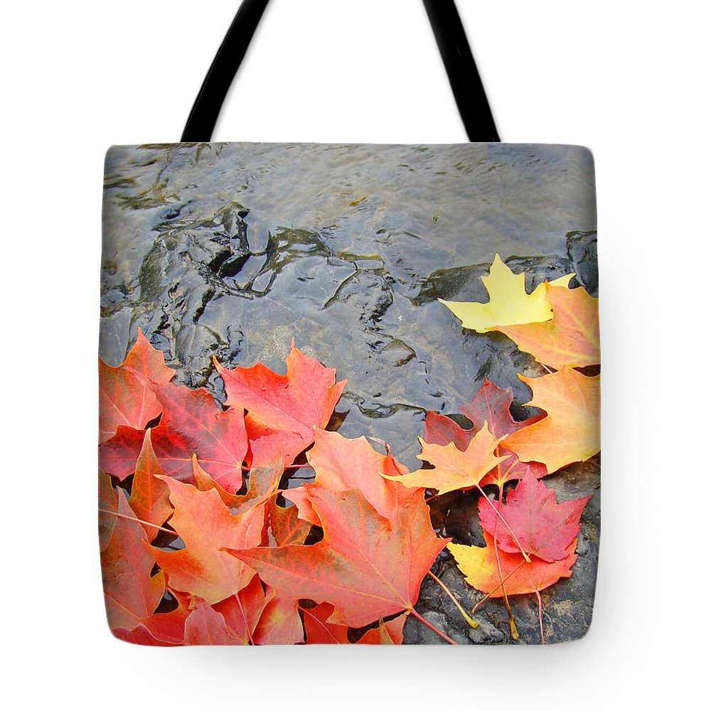 Autumn Tote Bag featuring the photograph Autumn River Landscape Red Fall Leaves by Baslee Troutman