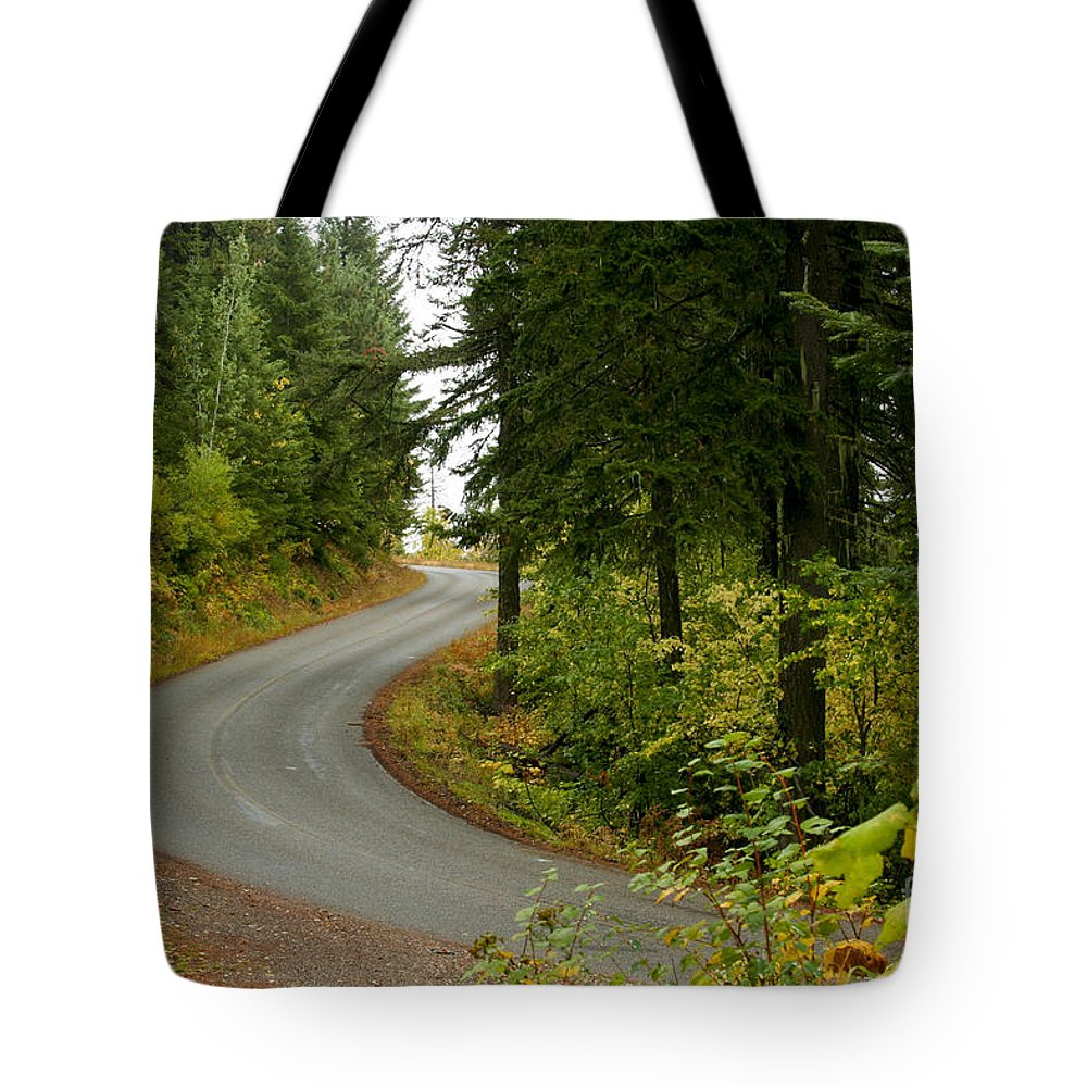 Road Tote Bag featuring the photograph Autumn Road by Idaho Scenic Images Linda Lantzy