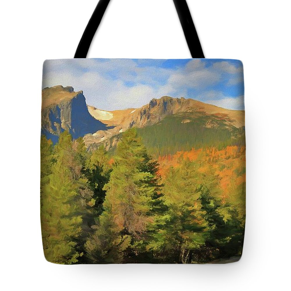 Autumn Road In The Rockies Tote Bag featuring the mixed media Autumn Road In The Rockies by Dan Sproul