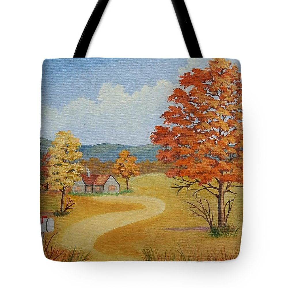 Landscape Tote Bag featuring the painting Autumn Season by Ruth Housley