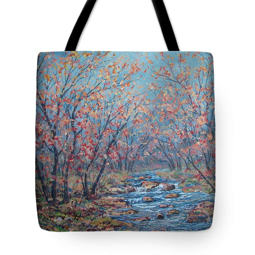 Landscape Tote Bag featuring the painting Autumn Serenity by Leonard Holland