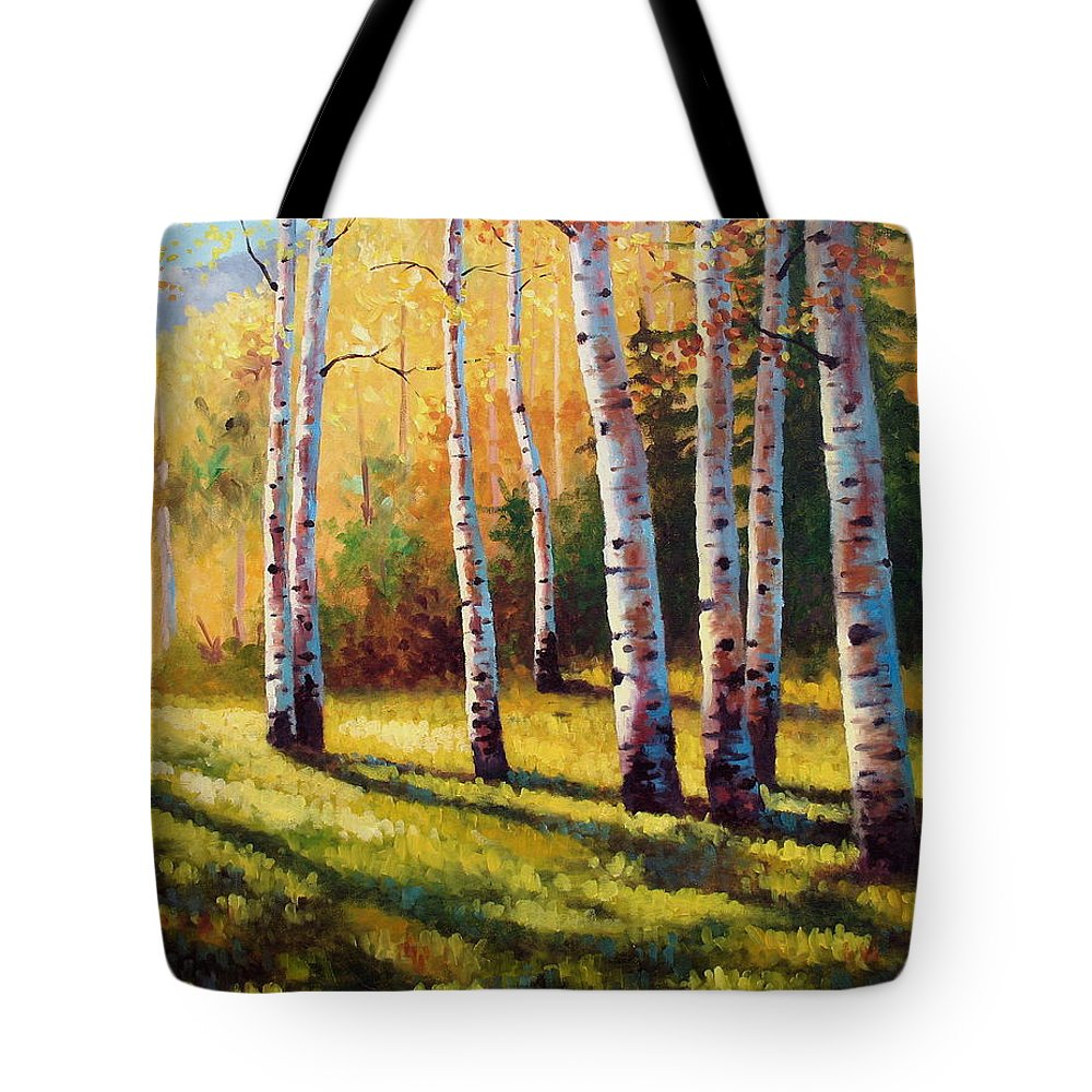 Landscape Tote Bag featuring the painting Autumn Shade by David G Paul