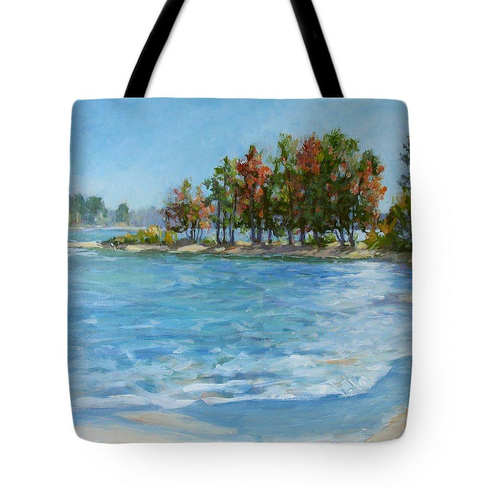 North Carolina Lake Tote Bag featuring the painting Autumn Shores - Jordan Lake by L Diane Johnson