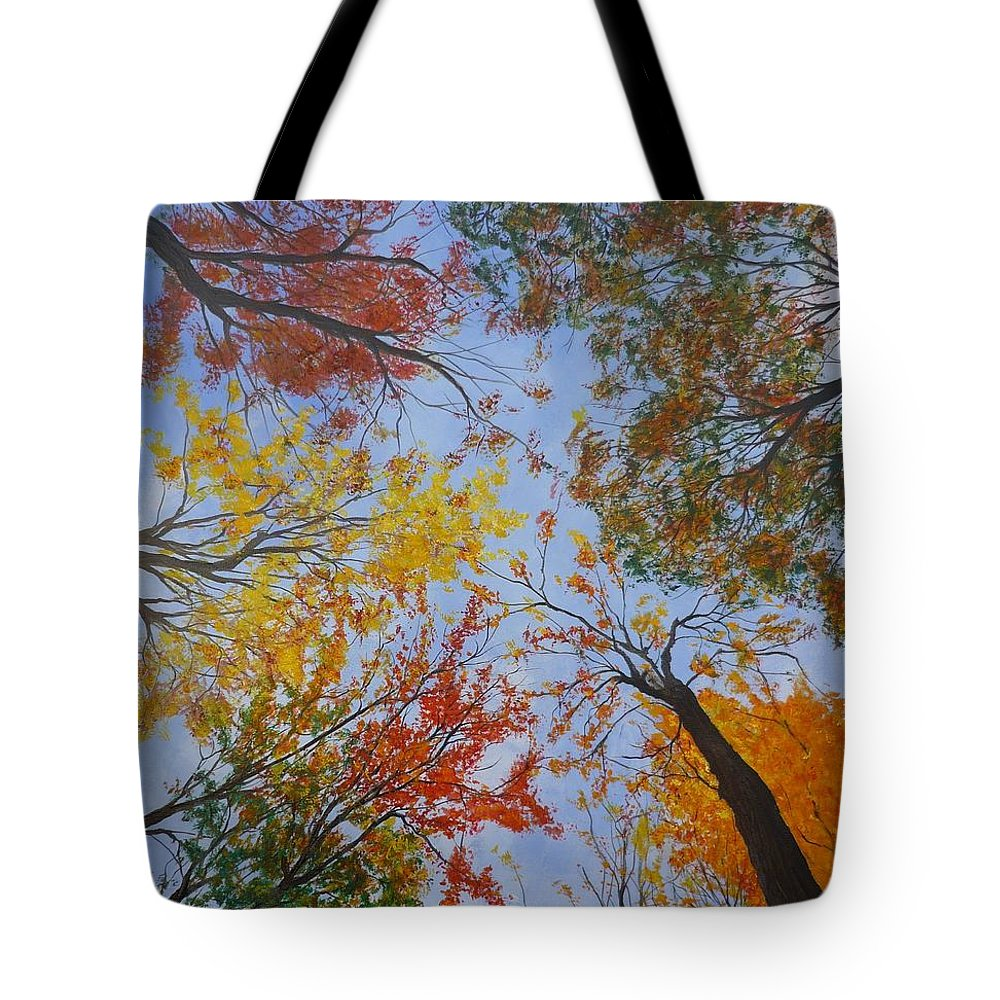 Tree Tote Bag featuring the painting Autumn Sky by Lizzy Forrester
