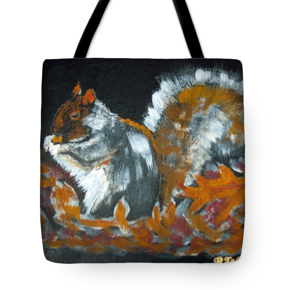 Squirrel Tote Bag featuring the painting Autumn Squirrel by Richard Le Page