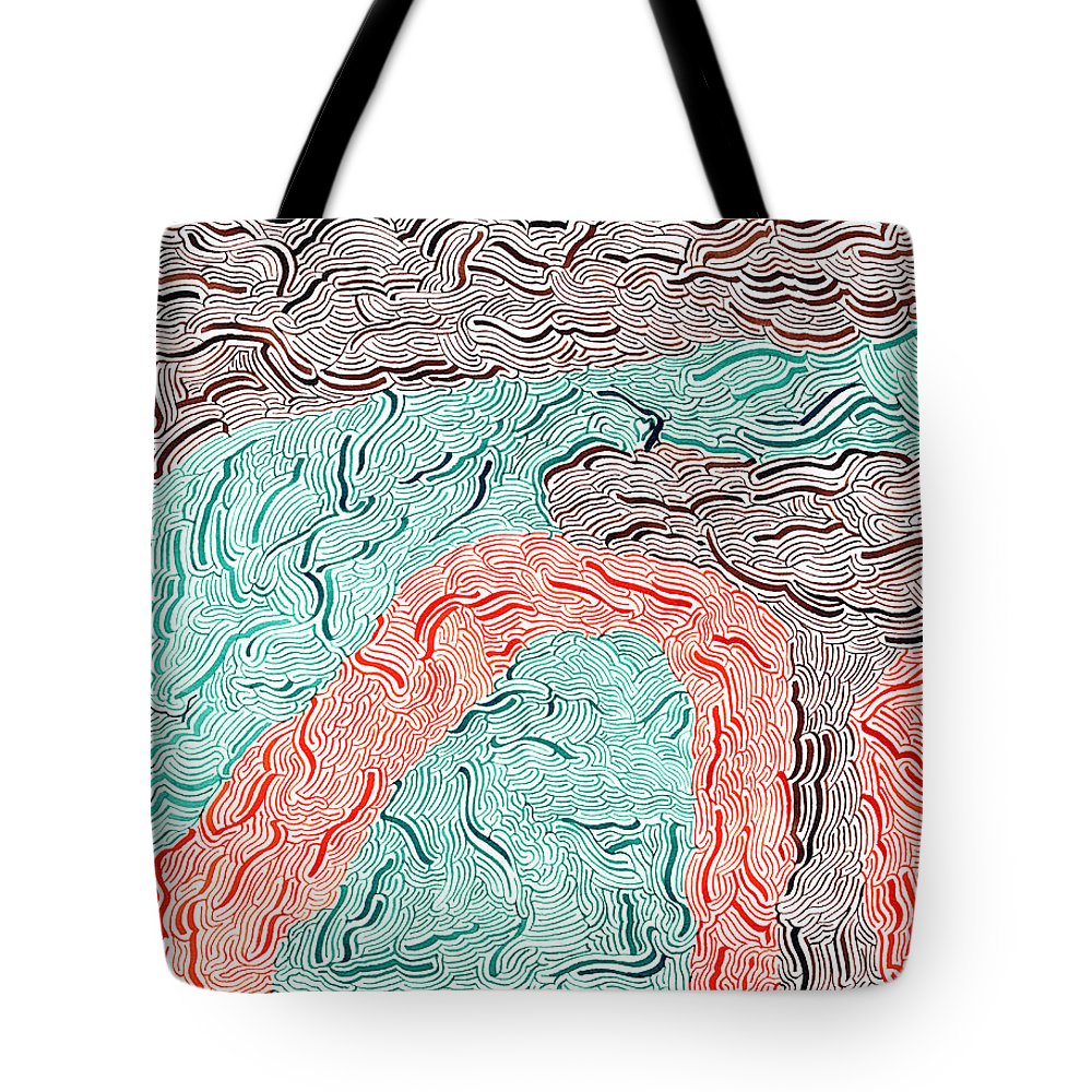 Mazes Tote Bag featuring the drawing Autumn by Steven Natanson