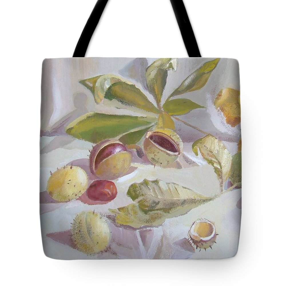 Still Life Tote Bag featuring the painting Autumn Still Life by Elena Oleniuc