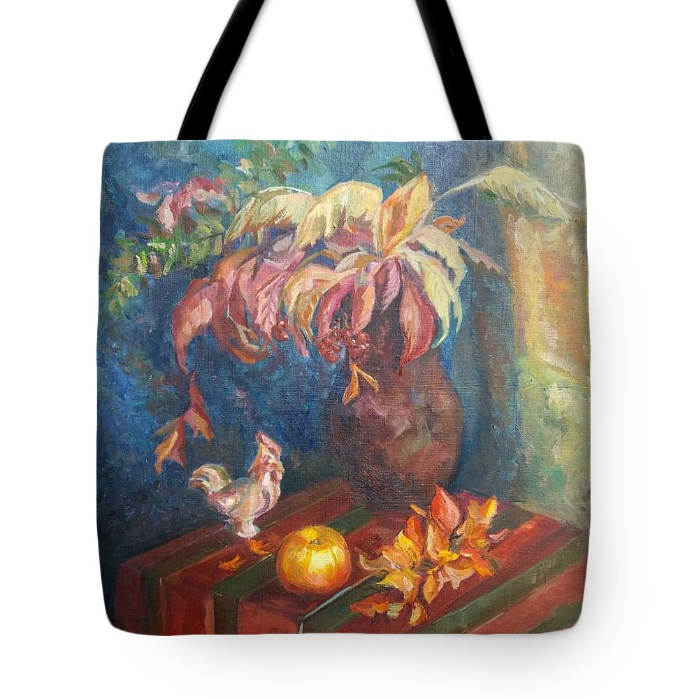 Autumn Tote Bag featuring the painting Autumn Still Life by Kateryna Kostiuk-Shostka