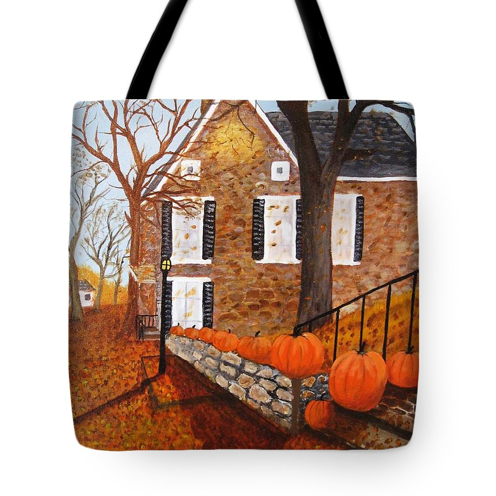 Stone House Tote Bag featuring the painting Autumn Stone House by Rich Fotia