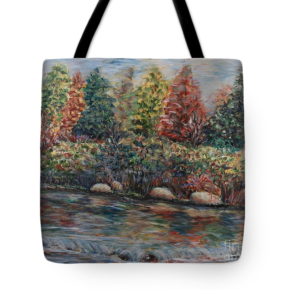 Autumn Tote Bag featuring the painting Autumn Stream by Nadine Rippelmeyer