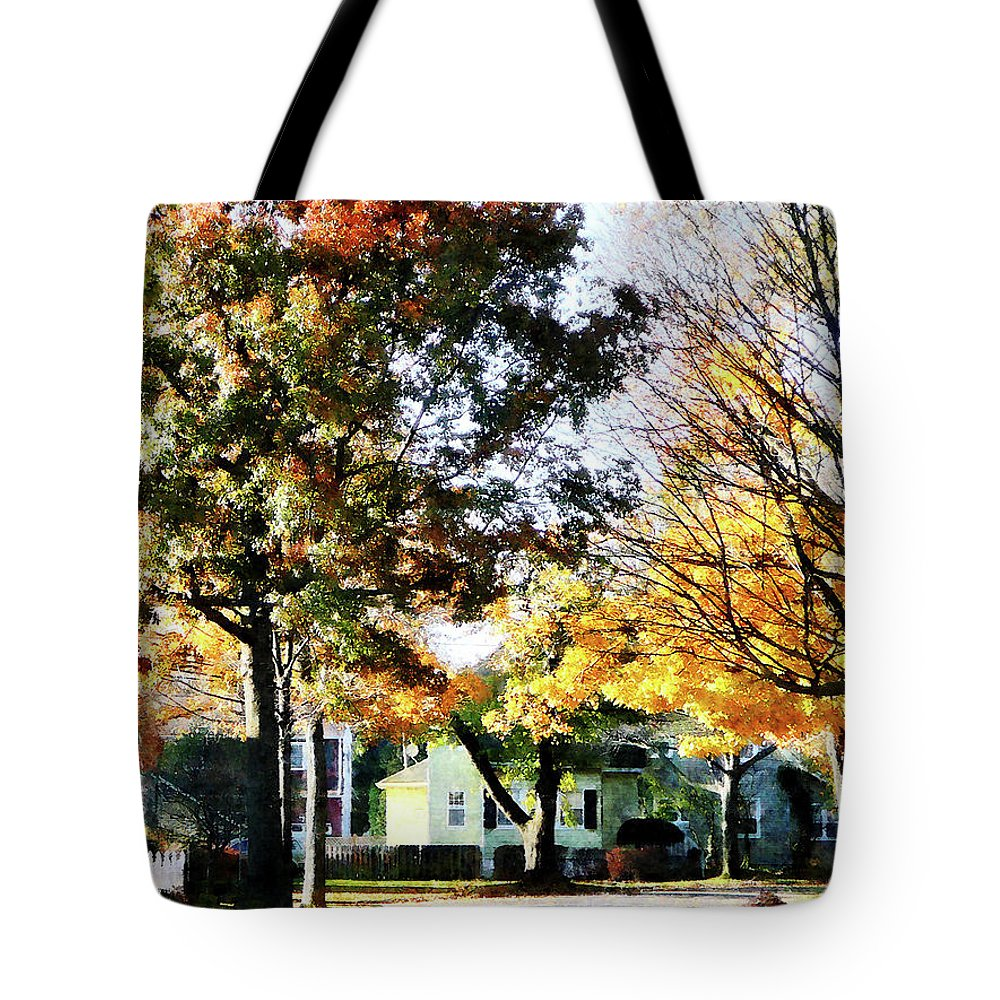 Street Tote Bag featuring the photograph Autumn Street With Yellow House by Susan Savad