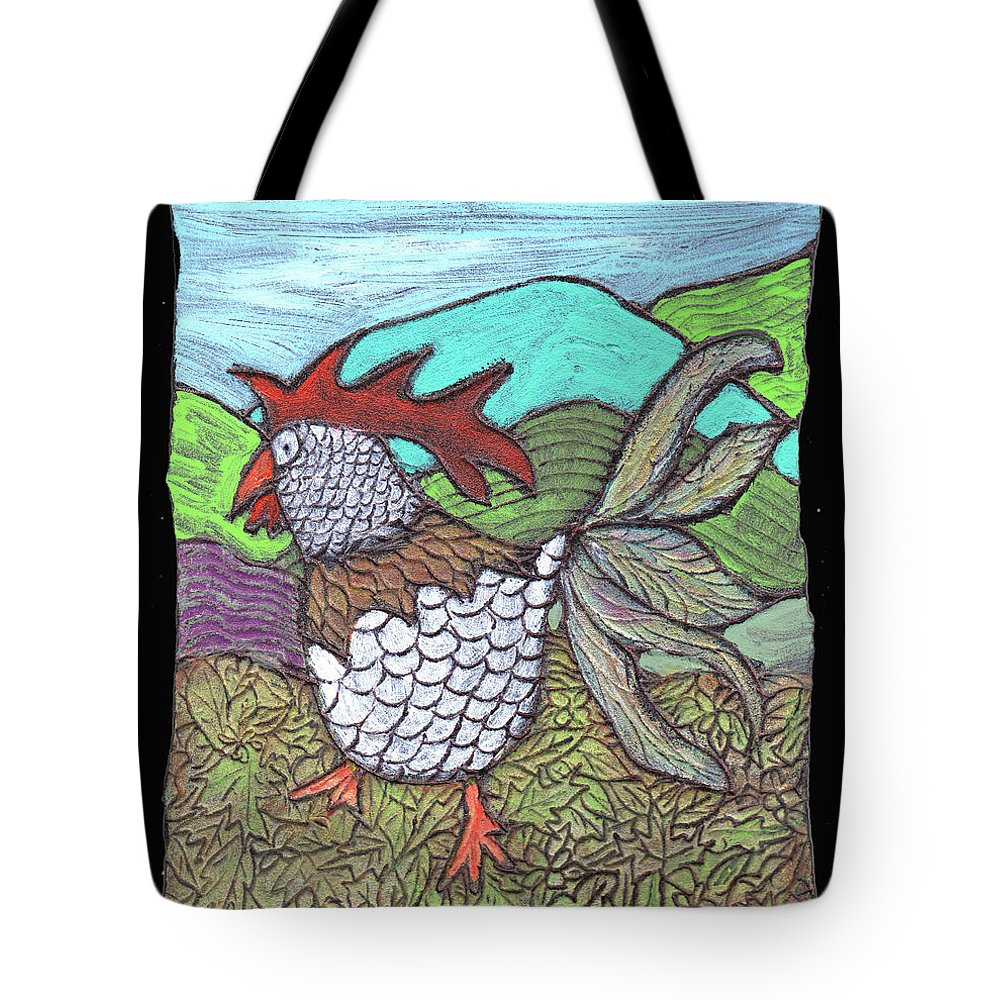 Chicken Tote Bag featuring the painting Autumn Strut by Wayne Potrafka