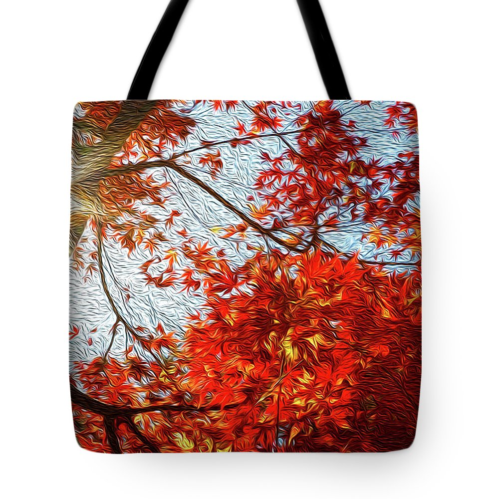 Abstract Tote Bag featuring the digital art Autumn Sun by Les Cunliffe