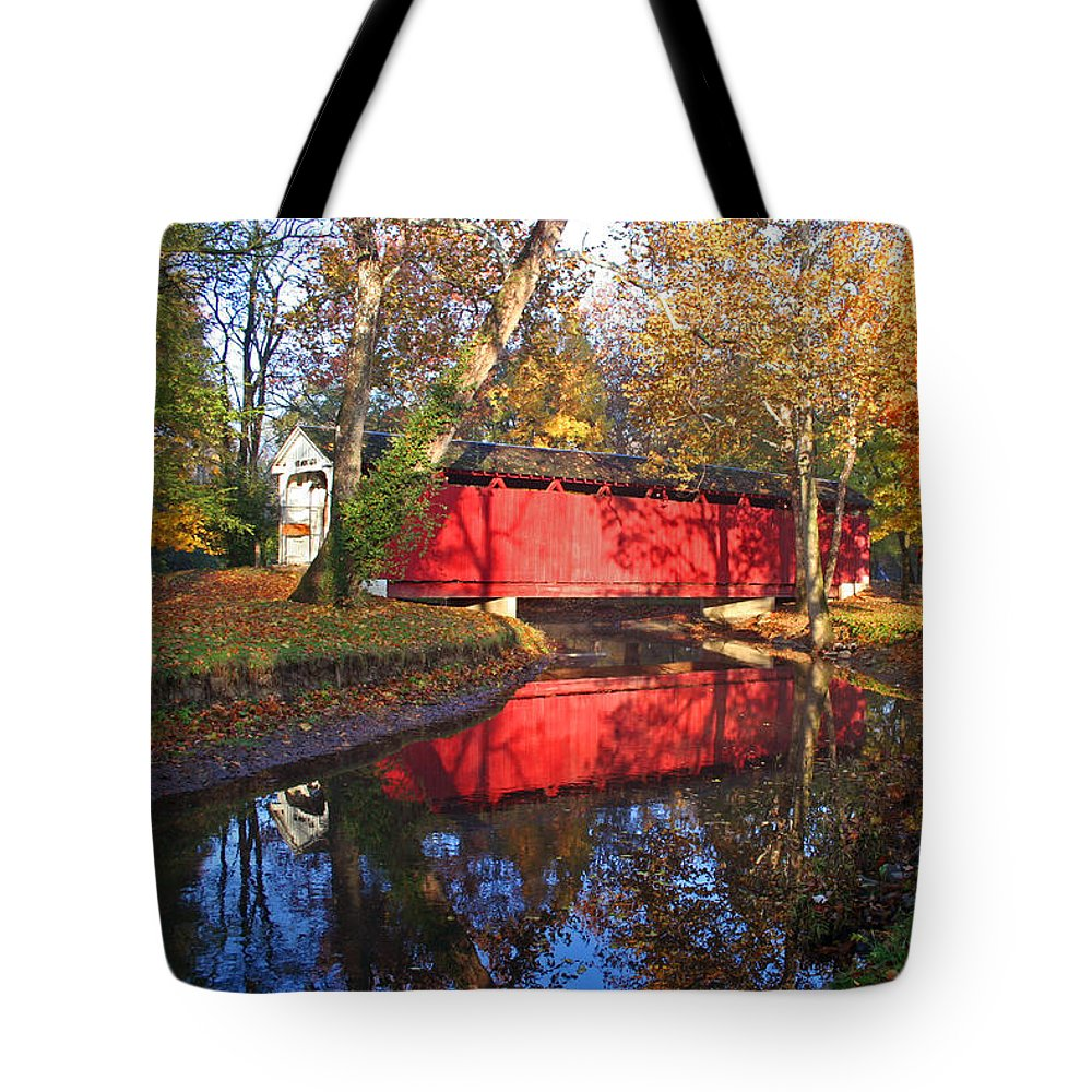 Covered Bridge Tote Bag featuring the photograph Autumn Sunrise Bridge II by Margie Wildblood