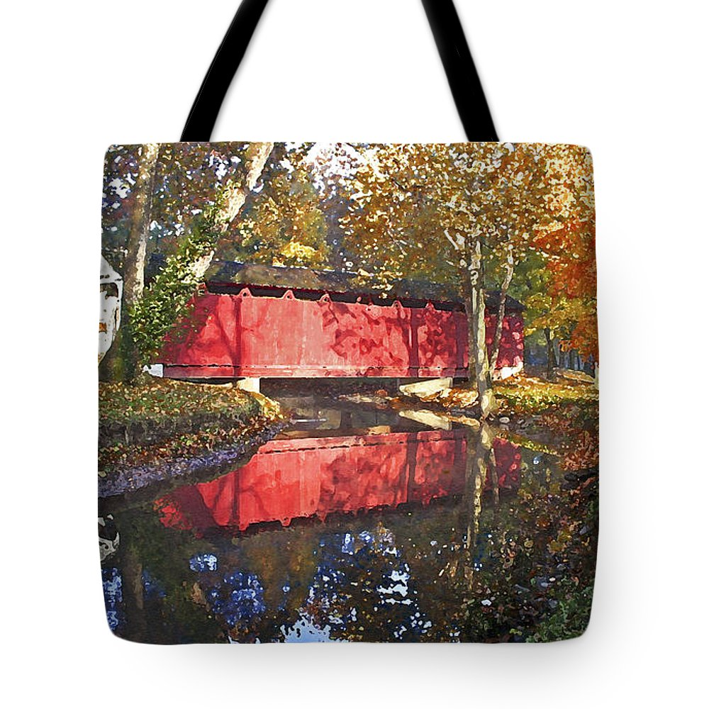 Covered Bridge Tote Bag featuring the photograph Autumn Sunrise Bridge by Margie Wildblood