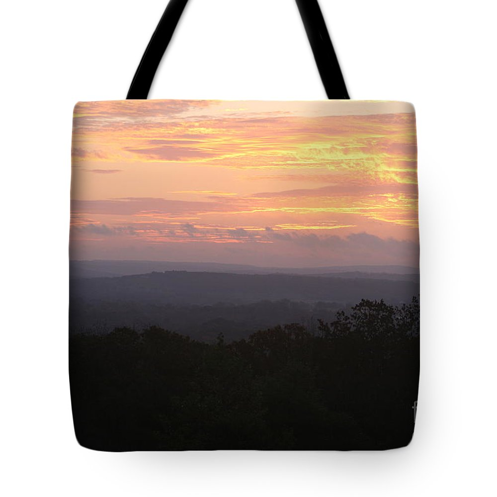 Sunrise Tote Bag featuring the photograph Autumn Sunrise Over The Ozarks by Nadine Rippelmeyer