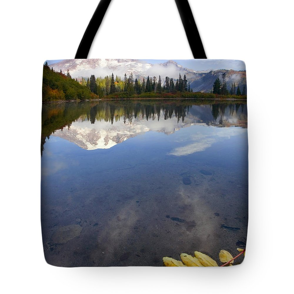 Rainier Tote Bag featuring the photograph Autumn Suspended by Mike Dawson
