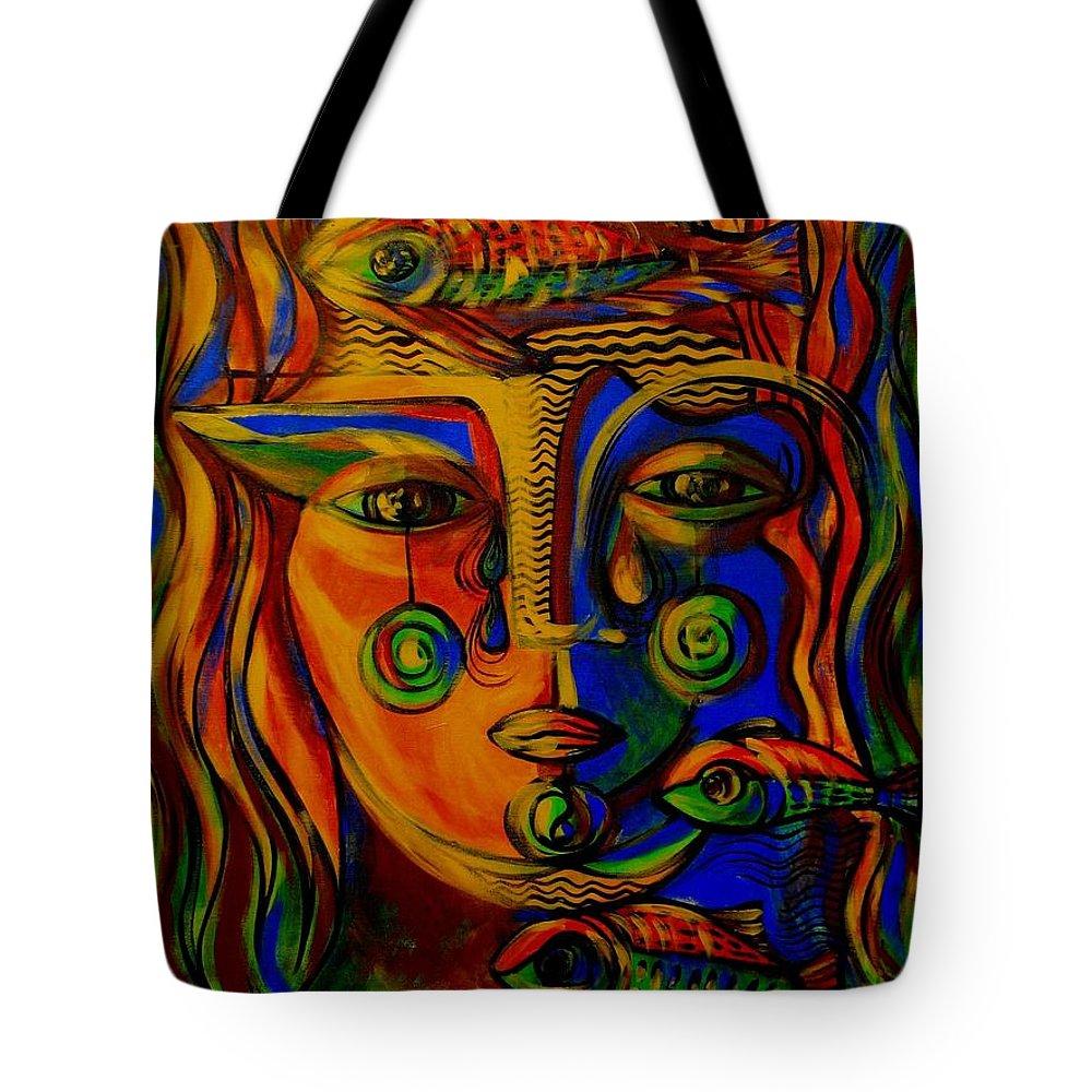 Inga Vereshchagina Tote Bag featuring the painting Autumn Tears by Inga Vereshchagina