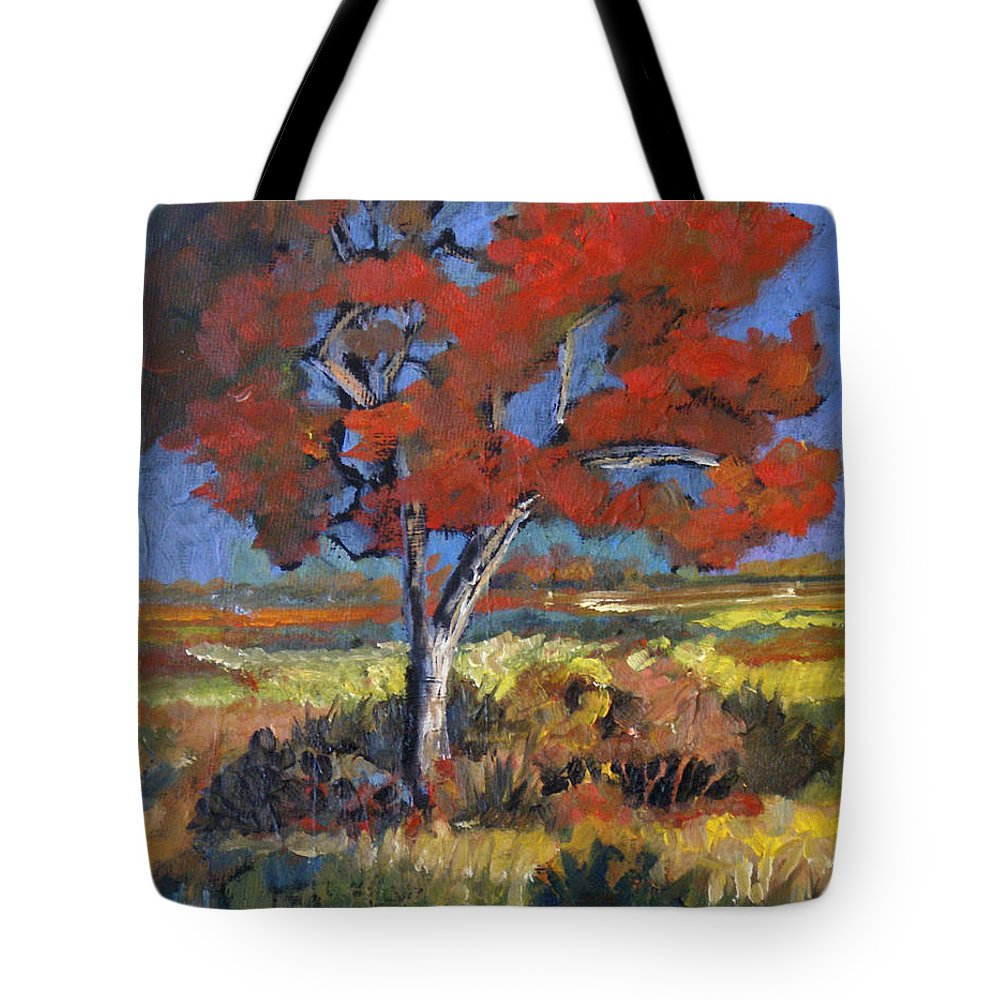 Autumn Tote Bag featuring the painting Autumn Tree by Heather Coen