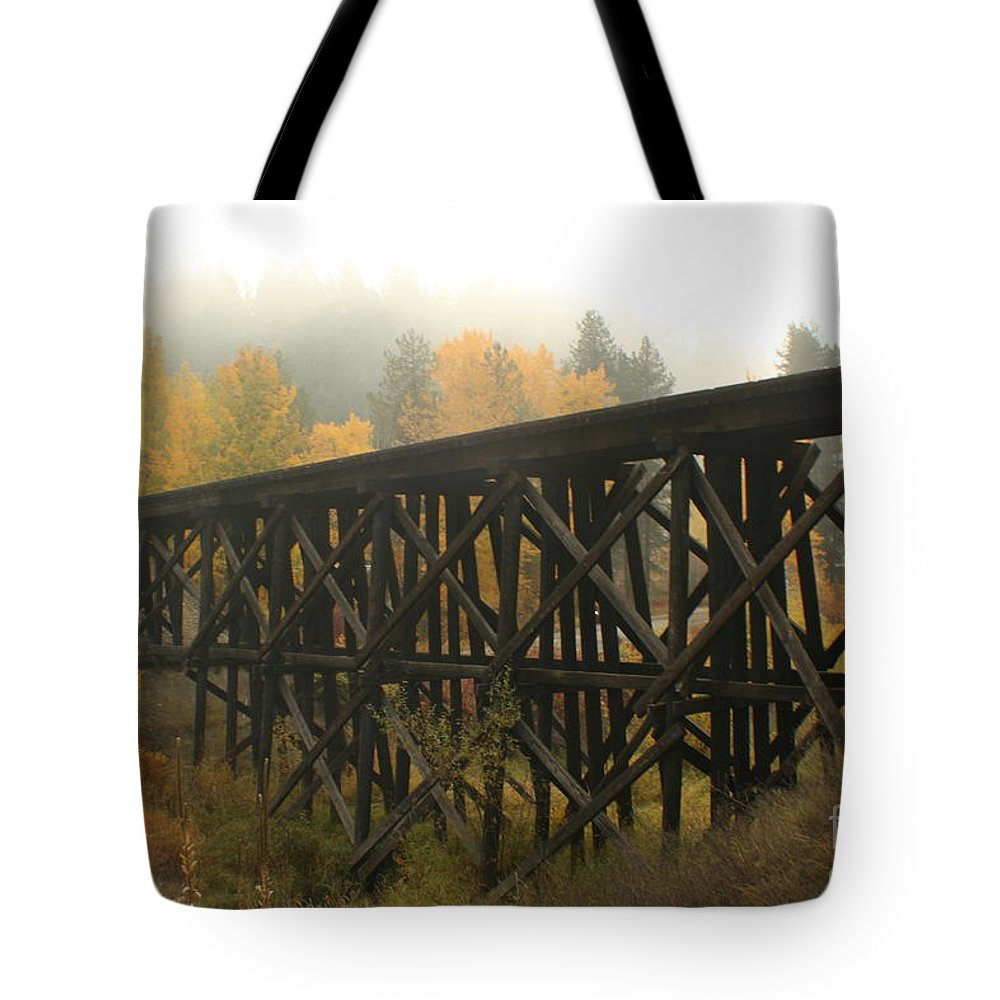 Trestle Tote Bag featuring the photograph Autumn Trestle by Idaho Scenic Images Linda Lantzy