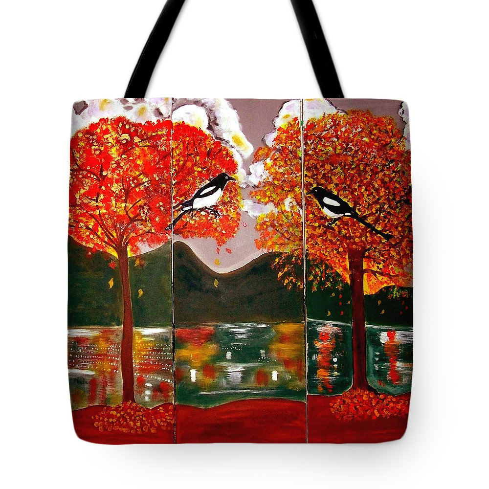 Landscape Tote Bag featuring the painting Autumn Trilogy by Rusty Gladdish
