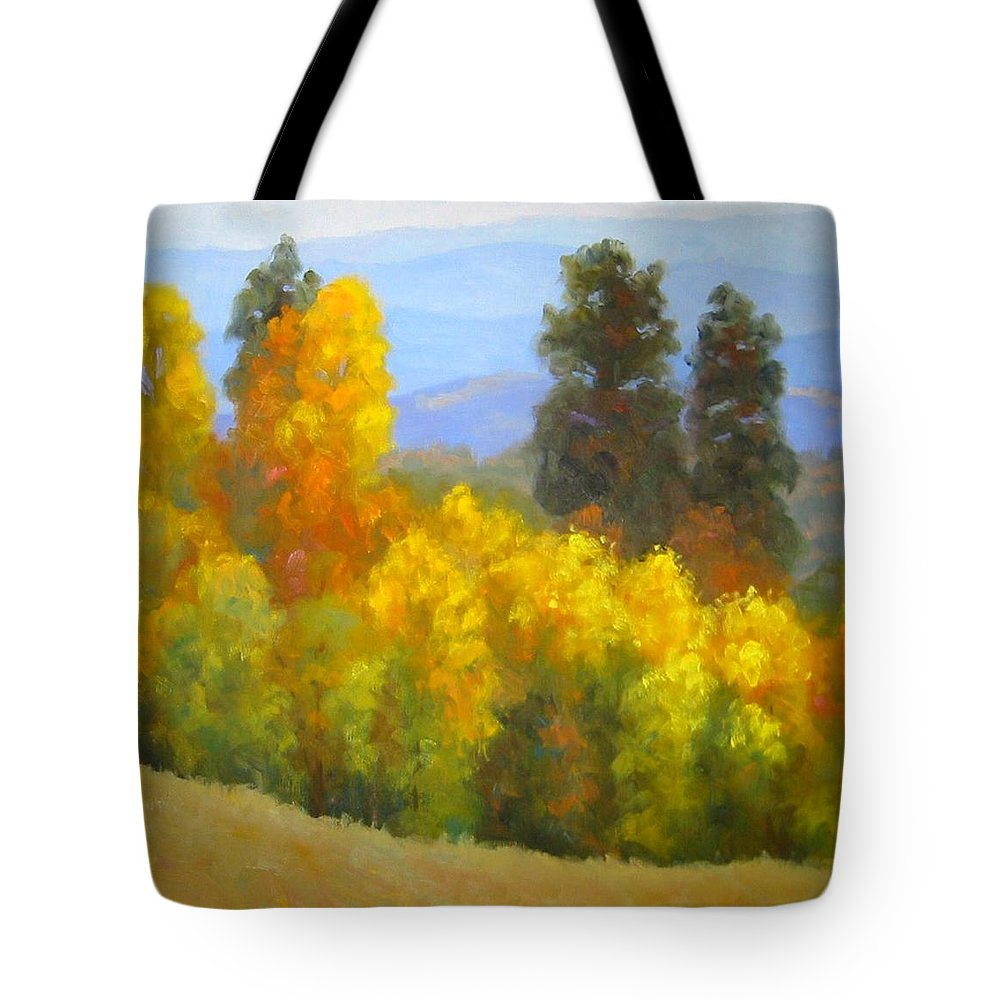Autumn Tote Bag featuring the painting Autumn Vista by Bunny Oliver