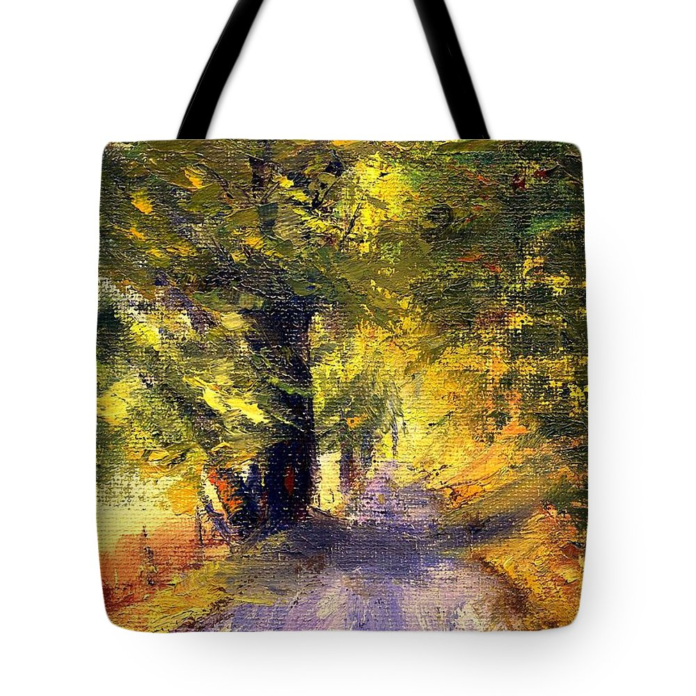 Autumn Tote Bag featuring the painting Autumn Walk by Gail Kirtz